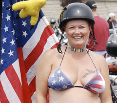 Woman with Patriotic Bra, Memorial Day, Washington, Rolling Thunder (Pulicciano) Tags: holiday afghanistan wall dead soldier army death dc washington memorial war day peace weekend military iraq capital harley vietnam fallen hero biker heroes davidson thunder rolling bikers pulicciano