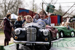 Look no hands! (markfly1) Tags: family kids children boy girl fun happy times smiling laughing old time cars steam fair candid f14 nikon d750 sigma art lens shallow depth field colour image