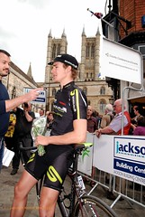 Scott Thwaites gets interviewed outside Lincoln Cathedral (KentonB) Tags: race scott cycling grand racing professional prix cycle finish lincoln pro win gp 2011 thwaites endura michealgate