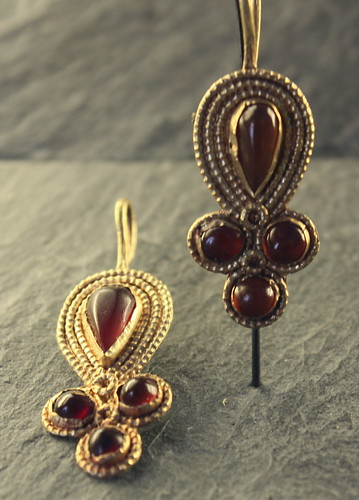 Gold and Garnet Earrings