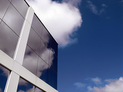 Mirror In The Sky II (peasap) Tags: california blue sky white reflection building window glass lines architecture clouds work canon reflecting mirror cross sandiego angles powershot mirrorimage viewpoint beams corners whitelines bluemirror converginglines g9 supershot platinumphoto canonpowershotg9 mirrorinthesky