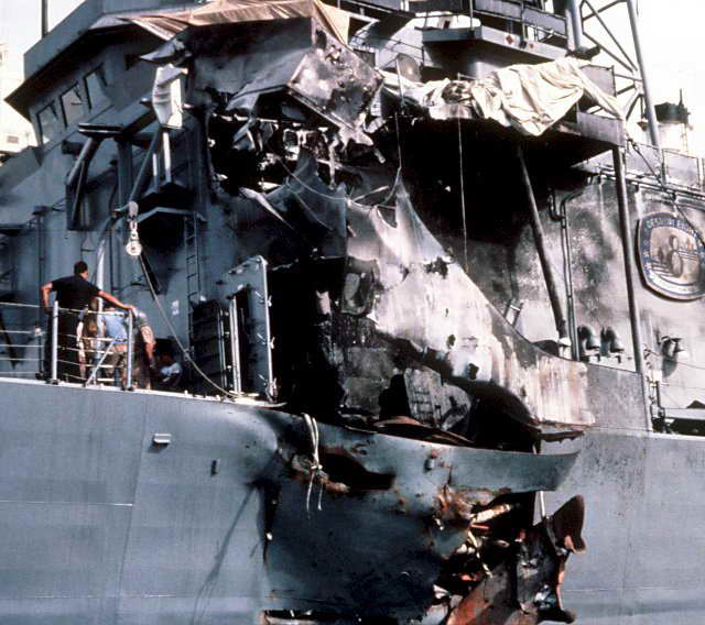 Outside view of damage to U.S.S. Stark after being struck by two Exocet missiles fired by Mirage F-1 jet fighter of Saddam Hussein's (1987-05-17; NavSource)