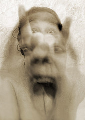 Possessed by demons (AzRedHeadedBrat) Tags: longexposure woman selfportrait halloween sepia interestingness explore satan devil demonic scared screaming possessed demons frightened hellraiser forkedtongue sharleneshappart decil