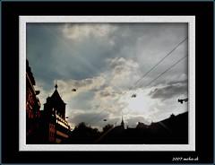 schaffhausen im gegenlicht (moha-sh) Tags: city playing clouds schweiz switzerland wolken schaffhausen stadt turm gegenlicht spielerei suise toweer aplusphoto obertorturm