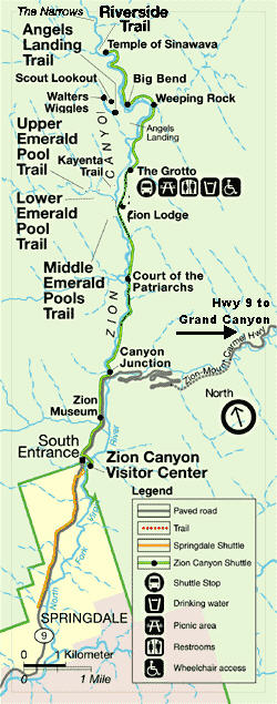 zion canyon national park map