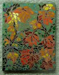 Autumn Zephyr (Carol Shelkin, Artist) Tags: autumn red orange abstract color green art fall philadelphia glass leaves yellow digital portraits artist mosaic sony fineart  mosaics tiles tess 60 grout takeabow commissions i artistmama wastoldto wwwcarolshelkinmosaicscom carolshelkin wwwcarolshelkinmosaiccom carolsoritzshelkin carolshelkinmosaics