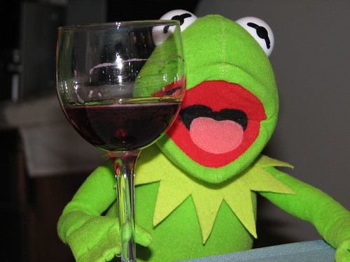 Kermit The Frog Drinking Wine