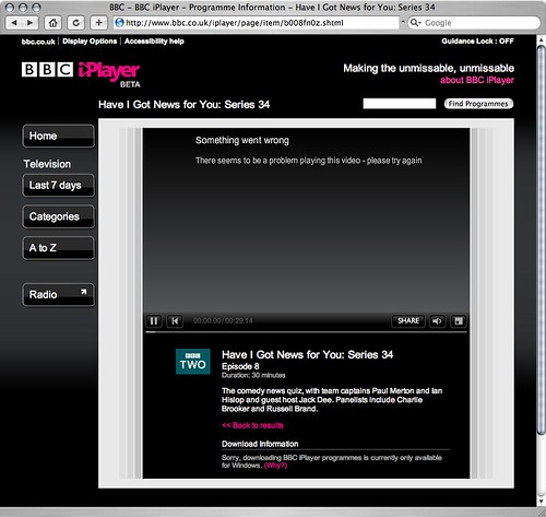 Flash web based iPlayer