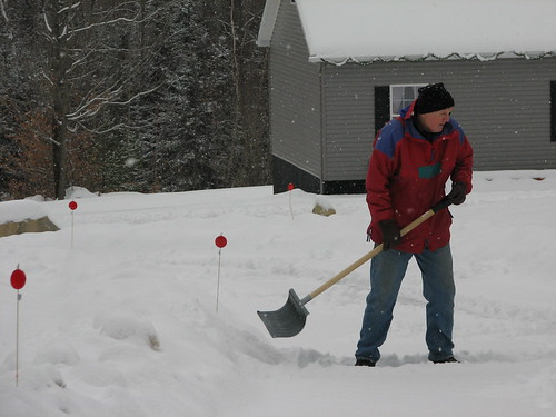 dad tackles the snow