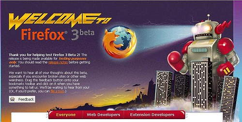 Firefox 3 Beta 2 Welcome page