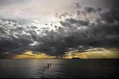 big ship (sadaiche (Peter Franc)) Tags: ocean sunset sea people beach water skyline clouds canon landscape big ship dramatic wideangle sunrays stkilda dreamscapes portphillipbay bigship 400d sadaiche