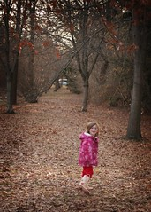 Little Pink Riding Hood (adwriter) Tags: pink winter girl children outside outdoors child exercise walk