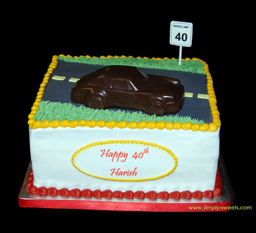 Sports Car 40th bday cake