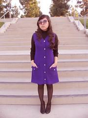 vintage purple beatnik dress (loveloveloveus) Tags: vintage mod 60s ebay dress purple shift scooter button 1960s vest lovelovelove beatnik