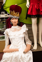 Uh-oh. Looks like the Imperial Margarine girl had a run-in with a meat cleaver disguised as a butter knife. (Cynthia E. Wood) Tags: woman feet mannequin girl strange vertical asian photography hands dummies mannequins dolls arms arm legs random models january gap streetphotography crown weirdness armless weddingdress thebody dummy 2008 cynthia limb funnyhaha crowned maimed slumped thriftshop slouching 9721 nikond80 inachair cynner cynnersf cynthiawood cynthiaewood limbsakimbo cynthiawoodphotography wwwcynthiawoodphotocom cynthiaewood limblimn 20080106cynthiawoodphotodsc9721