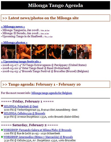 Milonga: Tango agenda newsletter