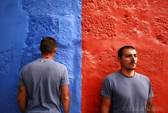 Opposite (LucaPicciau) Tags: blue red two portrait peru southamerica america colours opposite duo side double per alterego dos duplex half andes copia concept colori ritratto arequipa gemini due monastero simmetria modo duplicity gemelli doppio simmetry rossoblu santacaterina binario santacatalina sosia lato met divisione bilaterale duplice duplicato gemino