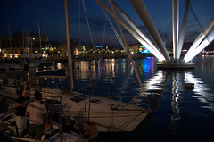harbor in genua (olszuffka) Tags: city light italy night port lights boat construction harbour reflexion genua gnes wochy