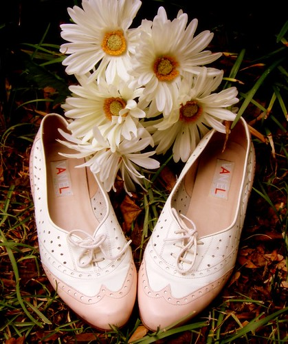pink and white oxford flats