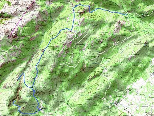 Carte de la région de Cagne entre Vacca et San Gavinu avec Naseu et Bocca di Tonnari