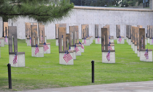 Chairs represent Oklahoma City bombing victims at memorial on the site.