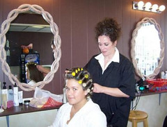 008 - 90s Wreath Mirror Salon (Sydney Michelle) Tags: brown hair mirror pair hairdo hairdresser mirrored salon rollers brunette hairstyle nineties 1990s smock coif rolled coiffure beautician stylist curlers hairstylist updo beautyparlor brownette