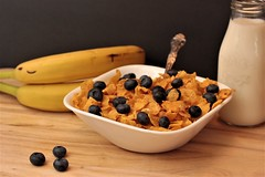 Ready for Breakfast.. (catherine4077) Tags: breakfast cereal cornflakes milk blueberries bananas