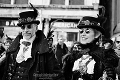 Carnival in Venice (gabrielavalentovic) Tags: carnival venice benatia veniceofthenorth masks blackandwhite bw blackbackground nikond3100 nikon nikkor35mm outdoor people smile monochrome italy italiangirl italianman slovakphotographer amateur amateurphotographer amateurphotography