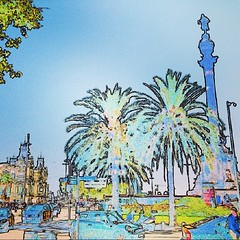 Summertime in Barcelona (Cloudwhisperer67) Tags: world barcelona street city trees light summer sky people urban france tree men green art cars love monument nature car statue skyscape walking landscape fun toy toys photography miniature amazing spain scenery funny colorful europa europe cityscape quiet time little puppet bokeh spirit sony great like sunny scene espana puppets journey tiny worlds summertime lovely try various scape raphael incredible effect rare raphal colombus colomb instagram hx9v cloudwhisperer67