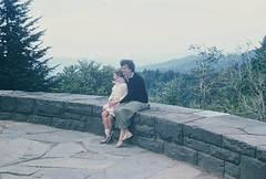 Jan and Mom at Newfound Gap overlook (lreed76) Tags: 1954 kodachrome smokies newfoundgap