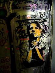 Dolk (steelliott80) Tags: barcelona new travel holiday streets color art wall night work happy graffiti spain stencil alley paint artist vibrant space tag banksy spray shutters illegal invader piece dolk skillfull stencilism