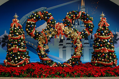 christmas decoration at disney resort line station