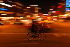 Kopenhagen at night (KapcieBabci) Tags: city people color colour bike bicycle night speed movement citylights panning kopenhagen citybynight