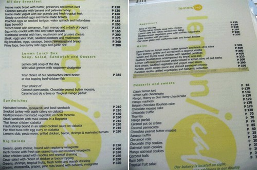 Boracay - Lemon(i)Cafe menu