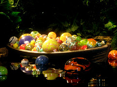 Glass Balls In A Boat - Chihuly Nights (blueintheburgh) Tags: light color chihuly water glass ball boat pittsburgh explore phippsconservatory mywinners superaplus aplusphoto theperfectphotographer
