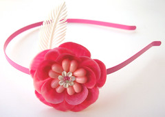 Pink and White Vintage Flowers Headband