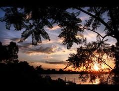 Brisbane River Sunset (whoops vision) Tags: trees sunset sky sun water sunshine clouds river boat bravo jetty riverbank brisbaneriver magicdonkey yeronga aplusphoto