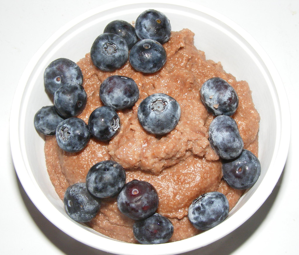chocolate Cream of Wheat with blueberries