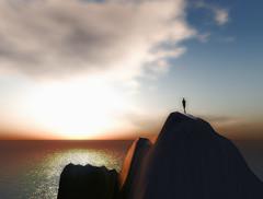 Solitude (Lyla.) Tags: ocean sunset sky mountains scarlet landscape cool alone view avatar creative sl damn solitary lyla barbosa windlight damncool