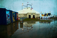 circus here today (Mary Hockenbery (reddirtrose)) Tags: texture rain weather photoshop project texas circus tent showmustgoon flooded circustent circuschimera