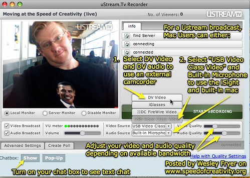 uStream.Tv Video, Audio and Quality Settings