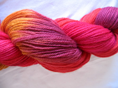 hand dyed sock yarn, skeined