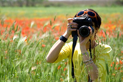 Clicks and Colours (dilestar) Tags: camera light red italy girl field yellow digital canon eos 350d italian italia photographer outdoor explore giallo tuscany poppies toscana freetime 2008 amici chiara rosso prato freinds luce ansedonia orbetello ragazza mvp papaveri italiana fotografa maremma mpf ithil 6millionpeople canoniani novideoonflickr