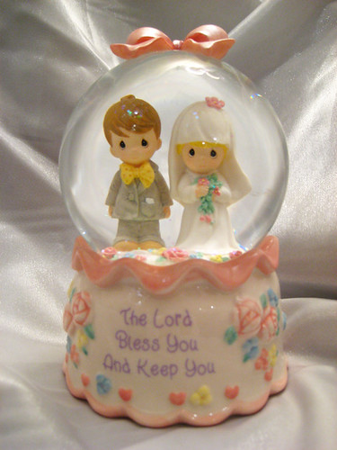 Engraved wedding snow globes