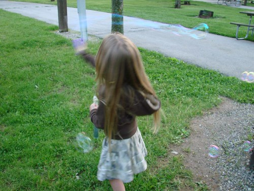 Blowing bubbles in Wallace State Park