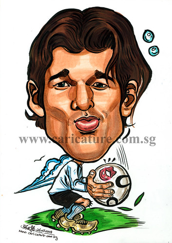 Caricature of Michael Ballack colour watermark