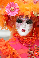 Debutante With Feathers in Her Hair (Photos and Art: Donna Corless) Tags: carnival pink venice italy orange festi