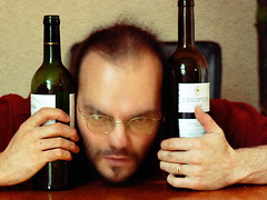 Alcohol - 1 (basswulf) Tags: selfportrait drunk lenstagged bottle wine bottles drink gimp alcoholism alcohol booze textured 43 fiftytwo wulf digitaldarkroom d40 2048x1536 camerasetting:aperture=f4 vivitar90mmf25macro 200802 permissions:licence=ccatncsa 20080206 winebibber image:ratio=43