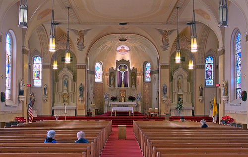 Saint Peter Roman Catholic Church, in Saint Charles, Missouri, USA - nave