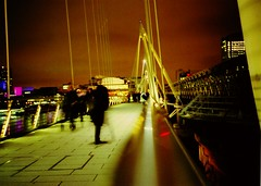 London - Footbridge at night (Quantum Zen) Tags: longexposure bridge london film night lomo xpro fuji ambient top20xpro embankmentbridge